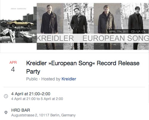 KREIDLER EUROPEAN SONG HRD Bar record release party